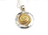 Spiral of Life Circle Pendant (Gold Vermeil Spiral) Large - Doyle Design Dublin