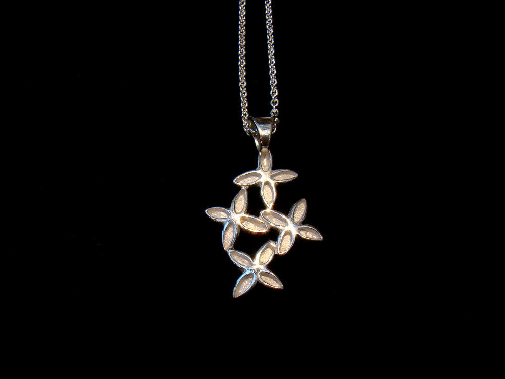 silver flowers pendant