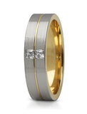 Two Tone Princess Cut Diamond Wedding Ring - Doyle Design Dublin