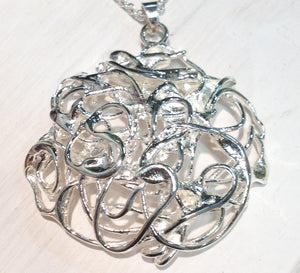 Wicker pendant in silver by doyle design