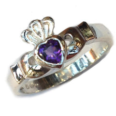 Sterling silver claddagh ring with amethyst gemstone