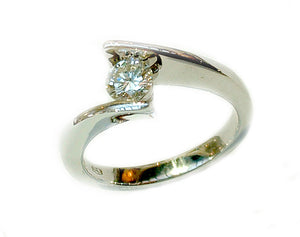 Cross Over Diamond Engagement Ring