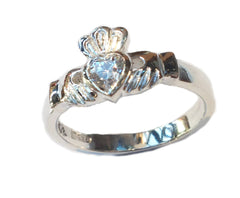 sterling silver claddagh ring with cubic zircona