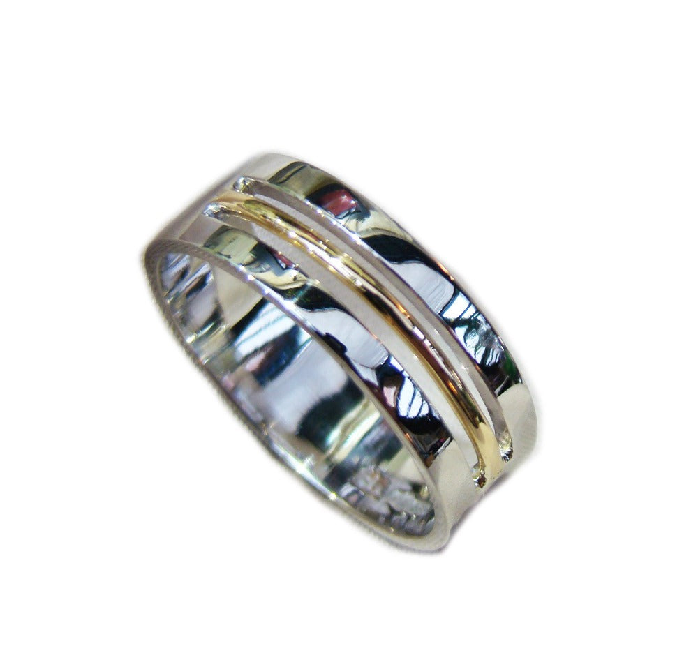 gents 8mm two tone ring