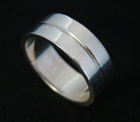 Wide mans wedding ring white gold with groove detail