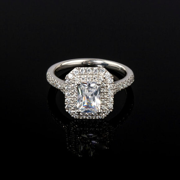 Rectangular Radiant Cut Double Halo Diamond Ring - Doyle Design Dublin