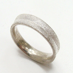 Mans wedding ring sandblast finish and concave shape