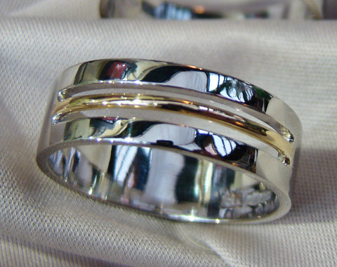 gents two tone wedding ring