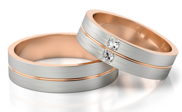 white and rose gold ring with princess cut diamonds