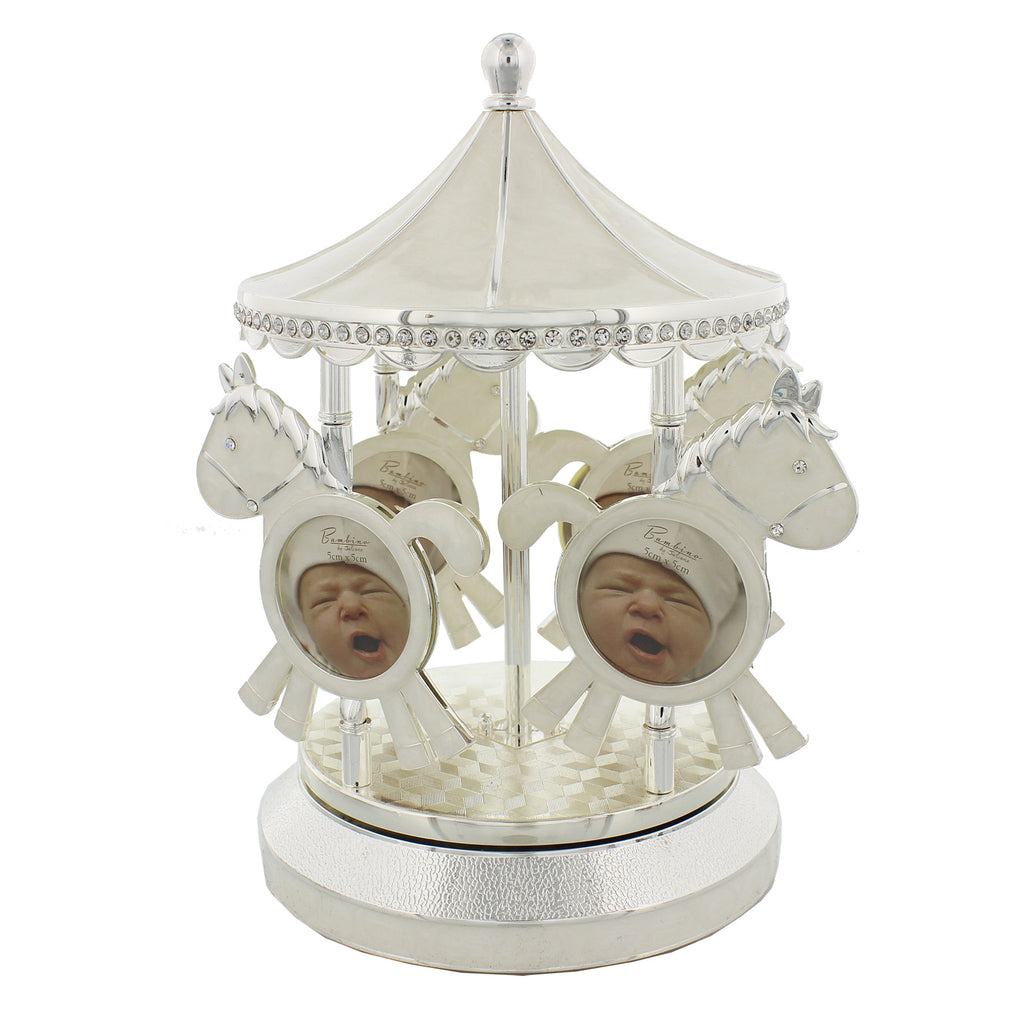 Silver Plated Baby Photo Frame Carousel