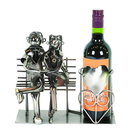 Wine bottle Holder Couple on Bench