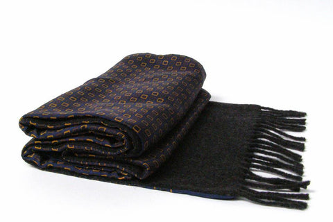 Silk Wool- Backed Scarf- Navy & gold