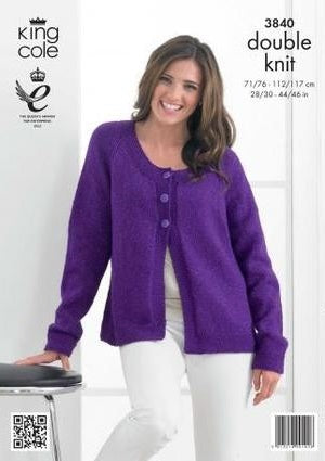 King Cole Glitz DK Pattern 3840 - Sweater and Cardigan