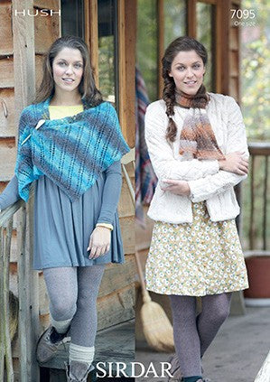 Sirdar Hush Lace Yarn Knitting Pattern - 7095 Scarf and Wrap