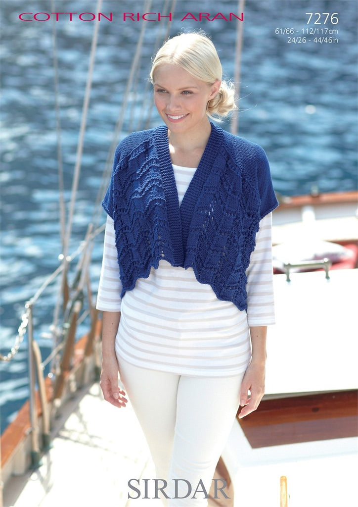 Sirdar Cotton Rich Aran - Pattern 7276 - Short & Long Sleeved Cardigan