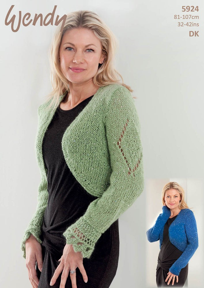 Wendy Celeste DK or Air Pattern 5924 - Knitted Ladies Bolero Shrug ...