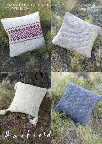 Hayfield Chunky Tweed Pattern 7496 - Cushions