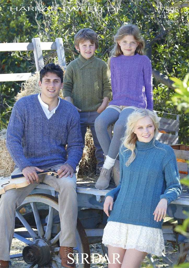 Sirdar Harrap Tweed DK Pattern 7396 - Round,V, Stand up & Wrap Neck Sweater