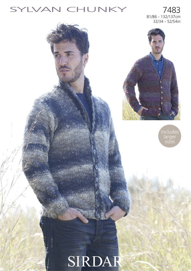 Sirdar Sylvan Chunky Pattern 7483 - V Neck & Shawl Collared Cardigan - REDUCED - NOW €1.00