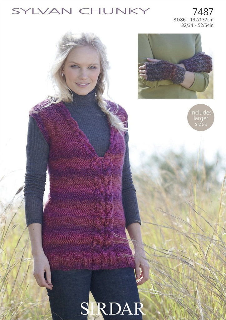 Sirdar Sylvan Chunky Pattern 7487 - Tunic & Wrist Warmers - REDUCED - NOW €1.00