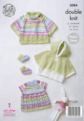 King Cole Cherish & Cherished DK Pattern 5084 - Capes, Top & Bootees