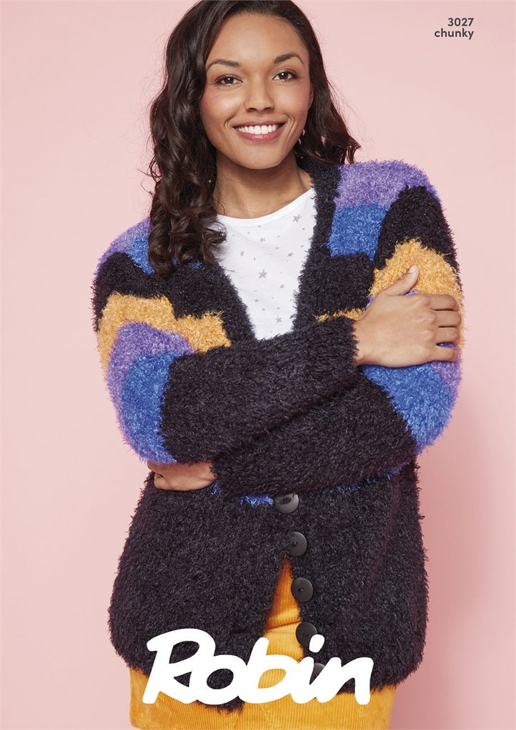 Robin Mardi Gras Chunky Pattern 3027 - Slouch Cardigans