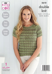 King Cole Island Beaches DK Pattern 5610 - Short Sleeved Sweater & Cardigan
