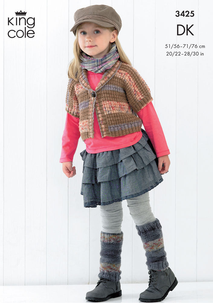 King Cole Splash DK Pattern 3425 - Girls Textured Waistcoat