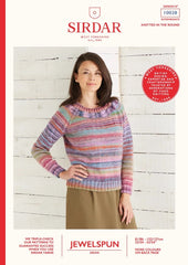 Sirdar Jewelspun Aran Pattern 10028 - Top-Down Jumper