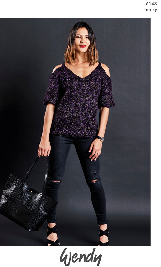 Wendy Noir Chunky Pattern 6143 - Cold Shoulder Sweater