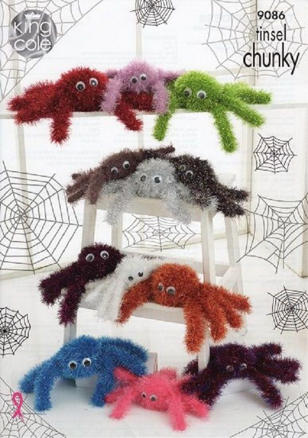 King Cole Tinsel Chunky Knitting Pattern 9086 - Range of Spiders