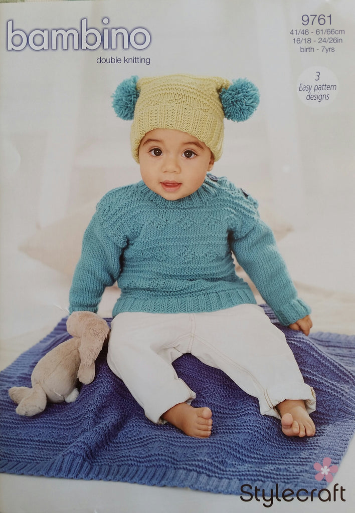 Stylecraft Bambino DK Pattern 9761- Sweater, Hat & Blanket