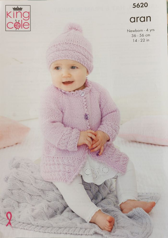 King Cole Comfort Aran Pattern 5620 - Jackets, Hat & Pram Blanket