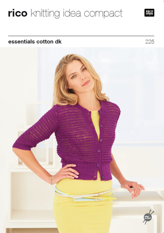 Rico Essentials Cotton DK Pattern 225 - Drop Stitch Pattern Cardigans