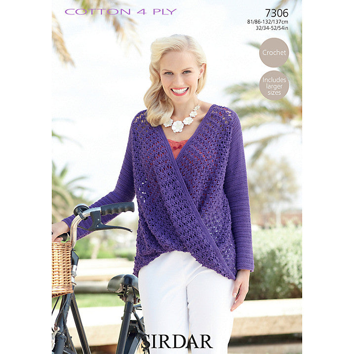 Sirdar Cotton 4 Ply Crochet Pattern 7306 -  Crochet Wrap Jumper