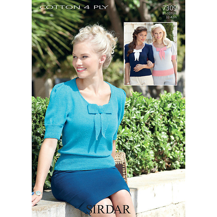 Sirdar Cotton 4 Ply Knitting Pattern 7309 - Chic short sleeved top