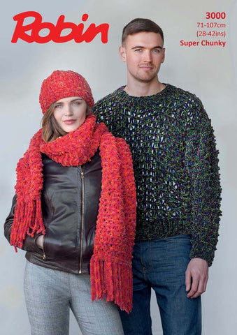 Robin Firecracker Super Chunky Pattern 3000  - Knitted Unisex Sweater, Hat and Scarf