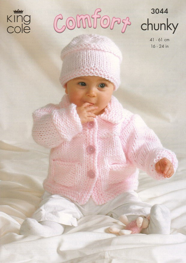 King Cole Comfort Chunky Pattern 3044 - Jacket, Sweater, Crossover Cardigan and Hat