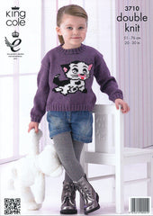 King Cole Pricewise DK Pattern 3710 - Sweaters with Frog & Cat