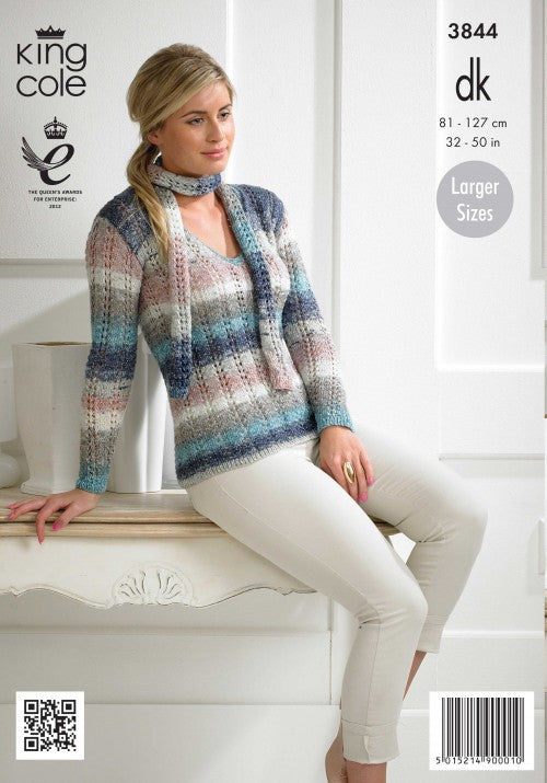 King Cole Shine DK Pattern 3844 - Ladies Sweater & Scarf