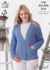 King Cole Giza Cotton DK Crochet Pattern 3900 - Cardigans