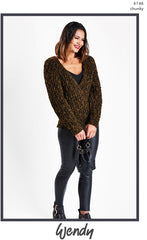 Wendy Noir Chunky Pattern 6146 - V-Neck Sweater