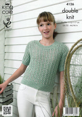 King Cole Authentic DK Pattern 4126 Top & Short Sleeved Cardigan