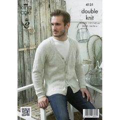 King Cole Authentic Cotton Mix DK Pattern 4131 - Pullover & V-Neck Cardigan