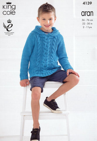 King Cole Big Value Recycled Cotton Aran Pattern 4139 - Round Neck & Hooded Sweaters