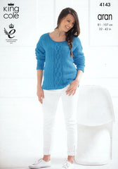 King Cole Big Value Recycled Cotton Aran Pattern 4143 - Raglan Round & Funnel Neck Sweaters
