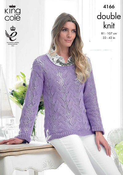 King Cole Giza Cotton DK Pattern 4166 - Sweater & Cardigan