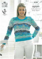 King Cole Opium Palette & King Cole Bamboo Cotton DK Pattern 4183 - Sweater and Cardigan