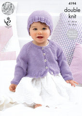 King Cole Cherish & Cherished DK Pattern 4194 - Cardigans and Hat