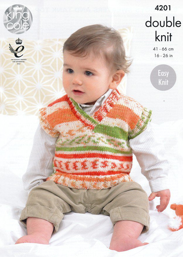King Cole Cherished and Cherish DK Pattern 4201 - Boys Sweater and Tank Top